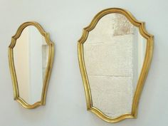 Pair of French Vintage Wooden Wall Mirrors - French or Belgian - Gold Gilt Wooden Wall Mirrors - Glamour for Your Home