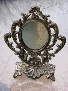 french antique art deco 1940s mirror vanity make by antiquefrance. $89.00, via Etsy.