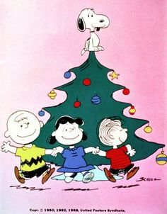Snoopy, top, Charlie Brown, left to right, Lucy and Linus, in 'A Charlie Brown Christmas.'
