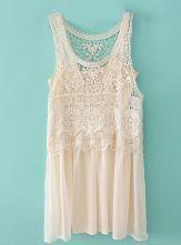 Beige Sleeveless Lace Crochet Chiffon Dress