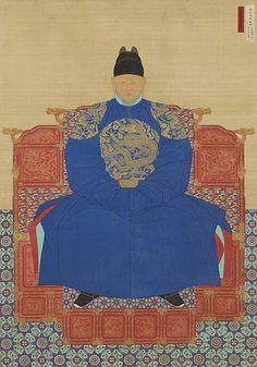 "Portrait of King Taejo copy of a c. original) ""National Treasure of South Korea colors on silk 150 x 218 cm """