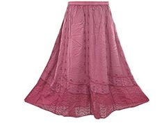 Bohemian Skirt Pink Embroidered Hippie Style Stonewashed Rayon Vintage Skirt for Womans Mogul Interior http://www.amazon.com/dp/B00WMC8EMK/ref=cm_sw_r_pi_dp_qMYovb16Z0K3R