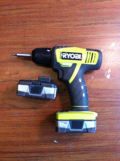 Both batteries dead. AC to DC adaptor purchased for project. Match the voltage of your drill to the voltage of your adaptor. Get an adaptor with 5 or more amps to increase the torque on your drill. Cordless Drill Batteries, Cordless Tools, Corded Drill, Battery Tools, Diy Home Crafts, Cool Diy Projects, Survival Prepping, Tool Storage, Diy Tools