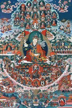 Guru Rinpoche with a wonderful retinue of Buddhas, Bodhisattvas, Monks, Lineage Lamas, Dharmapalas, and Yidams