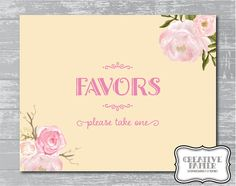 Peony Flower Favors Sign 8x10 DIY Wedding Poster by CreativePapier, $5.00