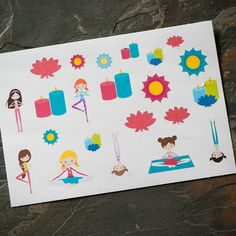 Yoga Stickers  22 ct for Erin Condren Life Planner by adrianapiper