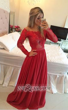 Gorgeous Long Sleeve Lace Prom Dress Long Chiffon Evening Gowns_High Quality Wedding & Evening Prom Dresses at Factory Price-27DRESS.COM