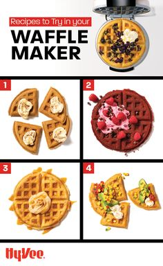With flavors like double espresso, red velvet, cinnamon roll, and more, your waffle maker will get a workout! Double Espresso, Homemade Breakfast, Cinnamon Rolls, Red Velvet, Waffles, Dinners, Brunch, Workout, Recipes