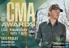 """Eric Paslay, a native Temple, Texan is nominated for the 2012 CMA Country Music Association Award for Song of the Year for """"Even If It Breaks Your Heart"""" sung by the Eli Young Band. He already won Country Song of the Year for """"Barefoot Blue Jean Night,"""" sung by Jake Owen, at the Annual ASCAP Country Music Awards in Nashville. Tune in to the awards tonight, Thursday (11/1) at 7 p.m."""