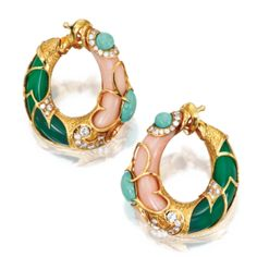 Pair of 18 Karat Gold, Coral, Chrysoprase, Turquoise and Diamond Earclips, Van Cleef & Arpels, France