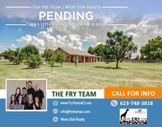 """We are now PENDING on this """"Irrigated Goodyear Home Over An Acre Lot Awaits You""""   If you are looking to sell or buy a home, let The Fry Team make it simple for you... CALL 623-748-3818 or visit us at www.FryTeamAZ.com for more information.   #Pending #Residential #HomeForSale #177thAvenue #Goodyear #AZ #RealEstate #TheFryTeam #HomeBuying #HomeSelling #WestUSARealty"""