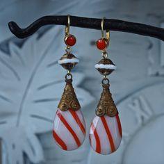 SOLD-OOAK Earrings Red and White Stripe Art Glass by prettyinprague2, $45.00
