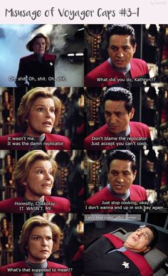 Star Trek Cast, Star Trek Series, Star Trek Voyager, Funny Star Trek, Robert Beltran, Cast Images, Captain Janeway, Star Trek Episodes, Kate Mulgrew