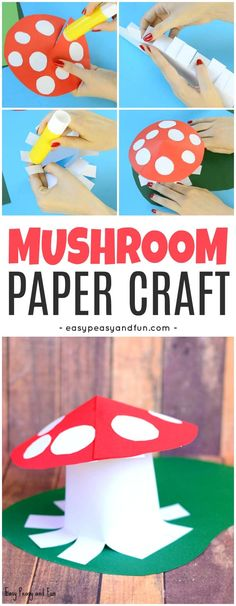 Cute Mushroom Paper Craft for Kids to Make