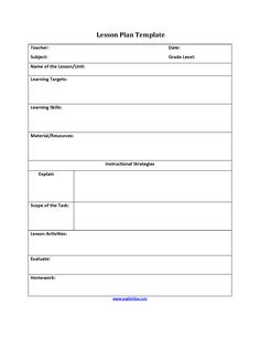 Weekly Lesson Plan Template  Th Grade English Worksheets