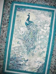 Peacock Table Runner or Wall Hanging quilted by PicketFenceFabric, $46.00