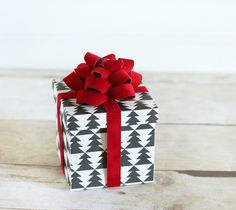 Pretty Packages Cricut image set -- Red flocked loop bow and box by The Crafted Sparrow. Make It Now in Cricut Design Space