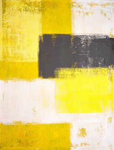 Abstract Art Print Yellow White and Grey  Modern by T30Gallery, $18.00