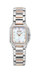 Citizen Women's EX1176-59D The Signature Collection Eco-Drive Fiore Watch Citizen. $1695.00. Eco-drive is fueled by light, any light, so it never needs a battery.. Mother-of-pearl dial. 53 diamonds - total ctw .45. Water-resistant to 30 M (99 feet). Dual-coated anti-reflective sapphire glass crystal. Inverted diamond crown