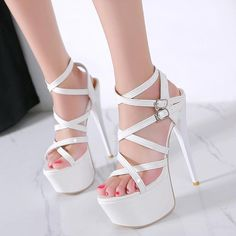 White Platform Stiletto Heel Sandals With Straps - High Heels Bridal Strappy Heeled Shoes White High Heels, Very High Heels, High Heels Stilettos, High Heel Boots, Platform Shoes Heels, Stiletto Shoes, Dolls Kill Shoes, Strap Sandals, Gladiator Sandals