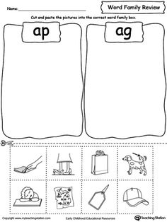 **FREE** Word Family Review Picture Sorting AP/AG Worksheet. Topics: Reading, and Word Families.
