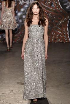 Jenny Packham | Fall 2015 Ready-to-Wear | 32 Silver embellished strapless maxi dress