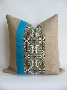 Burlap and Decorative Fabric with Turquoise by BouteilleChic, $18.00
