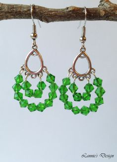 Free Shipping within USA Green Teardrop Earrings by LanniesDesign on Etsy