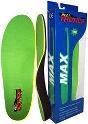 Redi-Thotics Max Orthotic Insoles by Redi-Thotics. $49.00. Supreva-HD foam for added comfort and cushioning. Extra firm ABS plastic shell with extended heel cup for maximum arch support. Barretex fabric Top Cover cools foot and helps reduce friction. Supreva foam base layer for durable long-lasting support. The Redi-Thotics MAX  protects the tranverse and longitudinal arches from bruising.  A deep seated heel cup adds motion control and stability.  The Pedura top a...