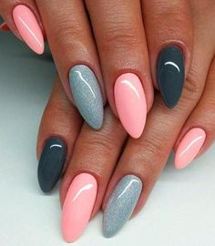 nail art designs braid fashion makeup Are you looking for lovely gel nail art designs that are excellent for this summer? See our collection full of cute summer nails art ideas and get inspired! Pink Gel Nails, Gray Nails, Gel Vs Acrylic Nails, Glitter Nails, Almond Gel Nails, Glitter Force, Pastel Nails, Nude Nails, Silver Glitter