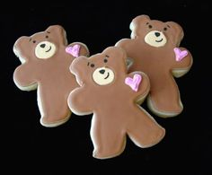 ADORABLE teddy bear cookies (frosting for cookies shape) Teddy Bear Cookies, Teddy Bear Party, Baby Cookies, Baby Shower Cookies, Cut Out Cookies, Fun Cookies, Cupcake Cookies, Decorated Cookies, Teddy Bears