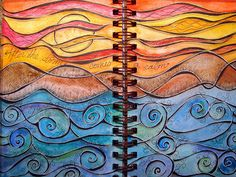 Beautiful color progression on a 2-pg spread, really nice details - by DionDior  #journal