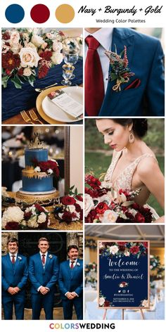 Top 7 Navy Blue and Gold Wedding Color Combos Navy Blue + Burgundy + Gold Wedding: gold lace gown, burgundy and red bouquet, navy blue suit with Navy Blue And Gold Wedding, Gold Wedding Colors, Gold Wedding Theme, Maroon Wedding, Burgundy And Gold, Wedding Color Schemes, Wedding Themes, Wedding Decorations, Wedding Day
