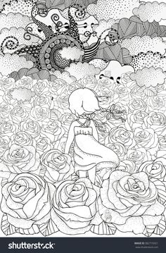 Little Girl Alone. Many Roses. Black And White Abstract Fantasy Picture. Wind…