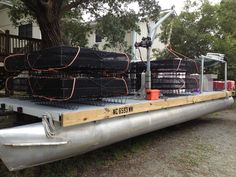 Chadwick Creek Oysters - Our newly built barge and oyster cages!