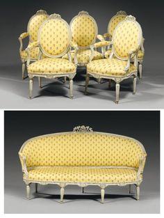 Mobilier de salon comprenant un canapé corbeille et cinq fauteuils à dossier