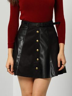 Shop Black Buttons Flare PU Skirt online. SheIn offers Black Buttons Flare PU Skirt & more to fit your fashionable needs.