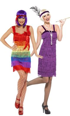 Kleider-Set im Charleston Stil für Damen mit zwei bunten Kleidern und Stirnbändern. Für Fasching oder Mottoabende.