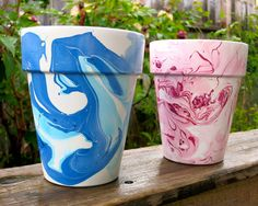 Picture of Nail Polish Marbled Flower Pots...Instructable.com