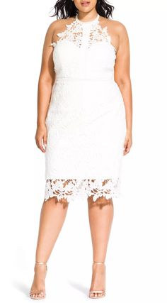 Bridal mini dresses are a statement-making trend that's here to stay. So we've researched the best short wedding dresses for the modern bride. City Chic High Neck Lace Dress Plus-Size