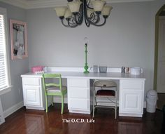 White Office Desks... made from kitchen cabinets and a countertop