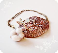 Cotton Field Bracelet with Raw brass Filigree leaf and by jewelera, $38.00