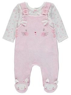 2 Piece Cat Dungarees Set, read reviews and buy online at George at ASDA. Shop from our latest range in Baby. With a cute cat face and 3D ears embroidered ac...
