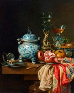 by Cornelis le Mair (artist) Dutch Still Life, Still Life Art, Still Life Images, Dutch Golden Age, Food Painting, Dutch Painters, Painting Still Life, Vanitas, Miniature Furniture