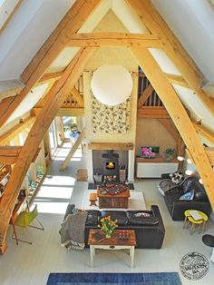 Oak Wood Frame Double Height Vaulted Ceiling in Self Build Timber House in Cornwall