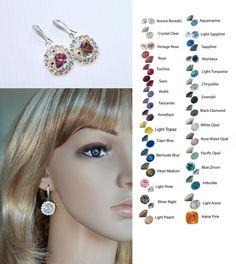 Choose Your Colour -- Handmade Swarovski Crystal Dangle Earrings (Sparkle-2633) #Handmade #DropDangle