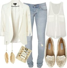 White blazer and spiked loafers