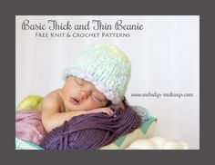Free Knit and Crochet Beanie Patterns.  All Sizes Newborn through Adult.