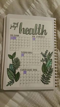 Monitor your health with your bullet journal. Here's an example. Plus 100 more BuJo page ideas in this post! Monitor your health with your bullet journal. Here's an example. Plus 100 more BuJo page ideas in this post! Bullet Journal Mise En Page, List Of Bullet Journal Pages, Bullet Journal Tracker, Bullet Journal Aesthetic, Bullet Journal Writing, Bullet Journal Spread, Book Journal, Bullet Journal Health, Bullet Journal Exercise Tracker