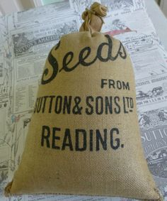 Small sack of Sutton's Seeds from Sutton & Sons Ltd , Reading containing seeds for a variety of Swede called Western Perfection